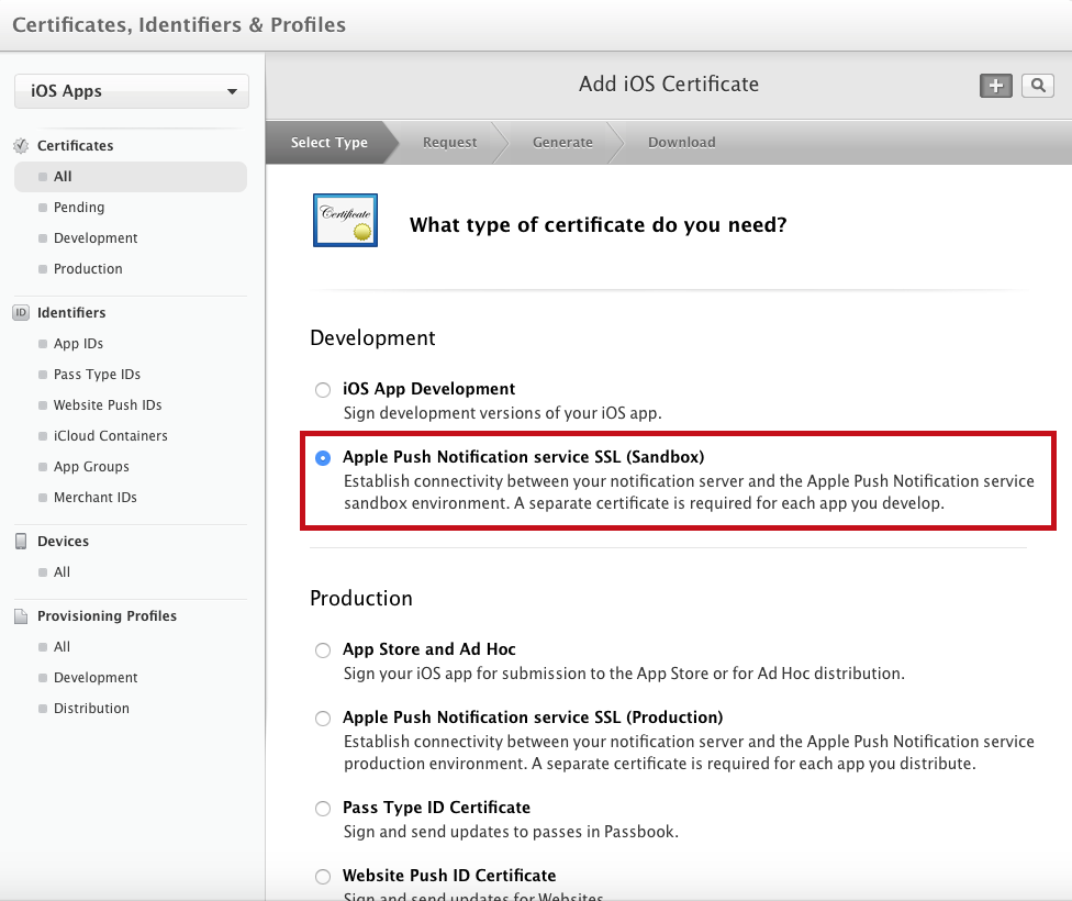 How to generate an apple push notification service certificate choose apple push notification service ssl sandbox for the certificate type 1betcityfo Images